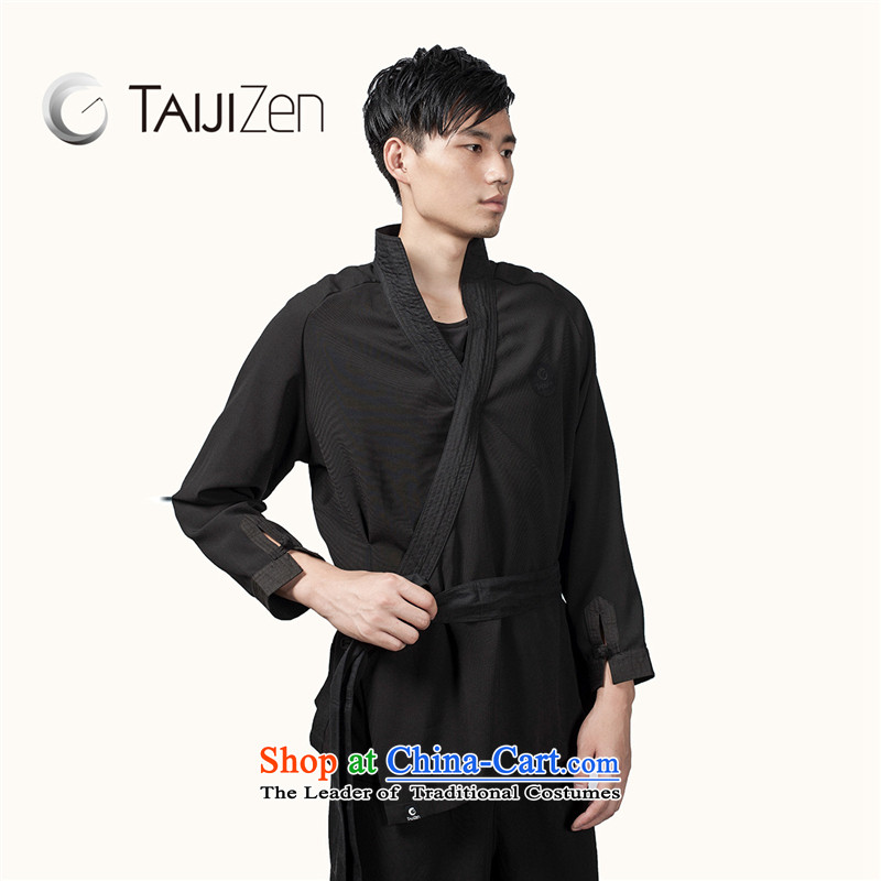 Tai Chi retreat 2014 new TAIJIZEN of autumn and winter stylish Tai Chi Boys a black long-sleeved clothing cloud hand jacket Black燲L
