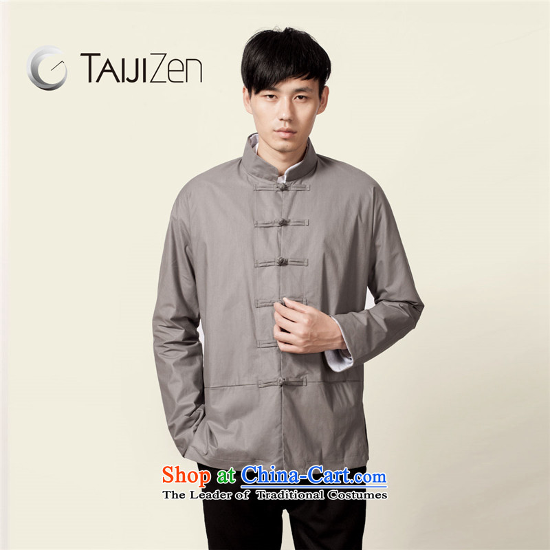 Tai Chi retreat TAIJIZEN 2014 autumn and winter New China wind men Tang tray clip collar wind jacket gray green?L