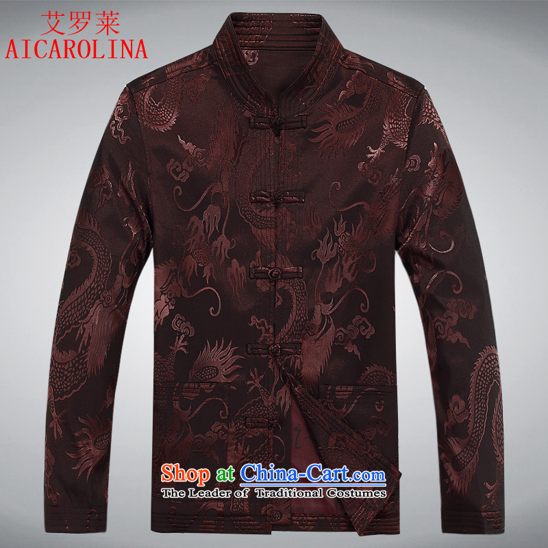 Hiv Rollet spring and autumn in older men Tang dynasty long-sleeved sweater birthday Tang dynasty male jacket grandfather Tang聽XXXL dark red jacket