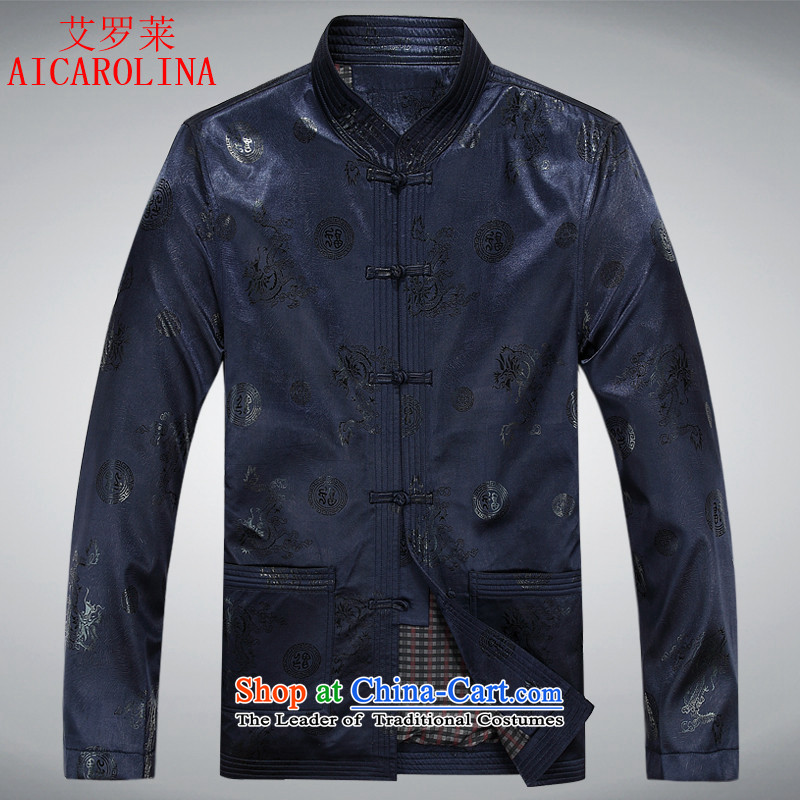 Hiv Rollet older Tang dynasty spring and fall 2015 new men with comfortable father load long-sleeved Tang dynasty male national services Blue?M