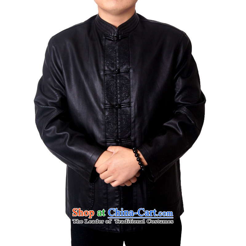 Mr Rafael Hui, the British mail package of Men's Mock-Neck upscale thick leather clothes men Imitated leather Tang Dynasty Chinese Tang dynasty collar PU jacket, black聽170, Ying 818 Shi (sureyou) , , , shopping on the Internet