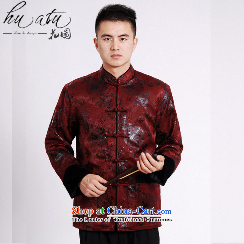 Floral autumn and winter new collar male Tang blouses flat, lint-free cloth mink gross cotton in the thick of the Chinese Tang dynasty male?-A wine red?L