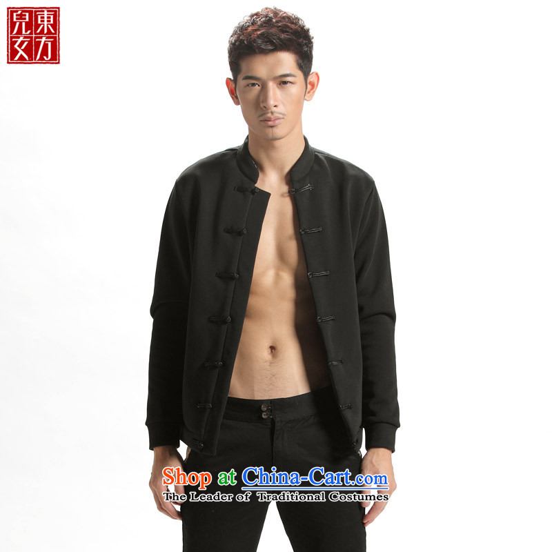The sons and daughters of China wind cotton oriental jacket Chinese youth thick men Tang Gown robe of winter clothing is detained men?170/(L) black