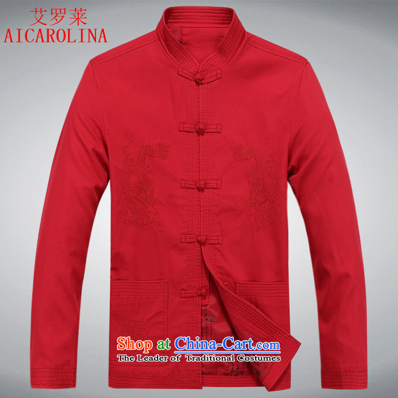 Rollet autumn load HIV men middle-aged men Chinese tunic thick celebration dedicated dresses, Dragon jacket collar China wind men Tang Red?XL