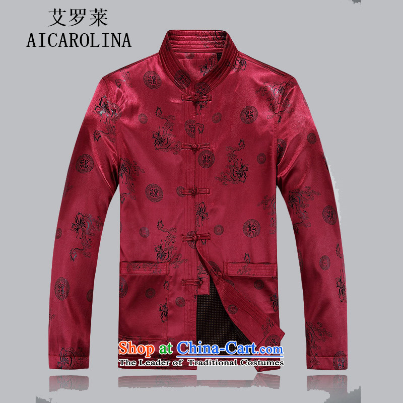 Hiv Rollet autumn and winter thick Tang dynasty in elderly men Tang Tang dynasty cotton add male cotton jacket�XXXL red