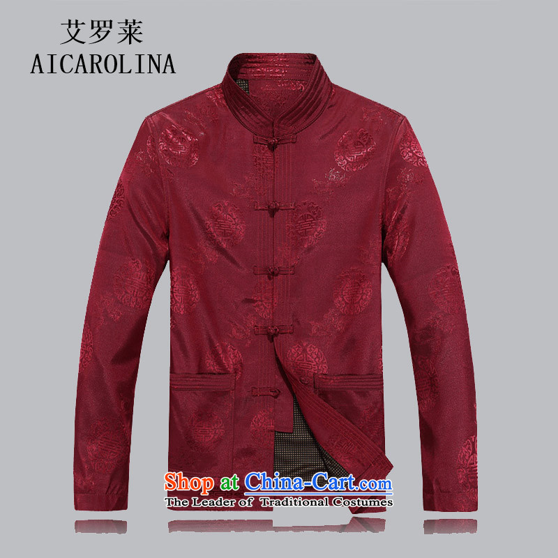 Airault letang autumn in older men with long-sleeved sweater collar Tang Dynasty Large Load Grandpa Male Male Red Jacket燲L