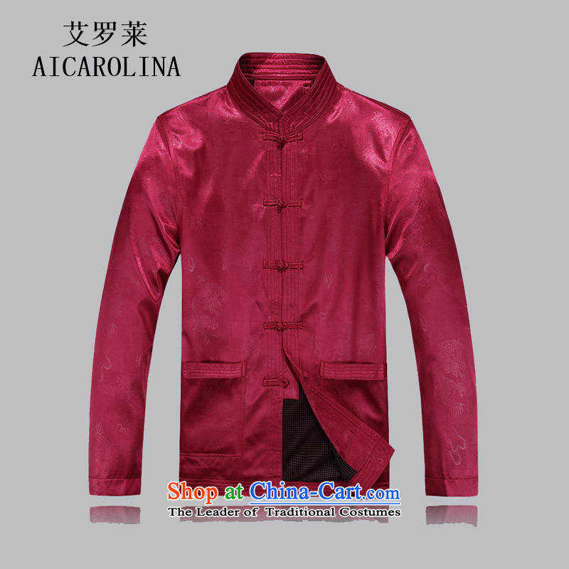 Airault letang jacket men in older Tang jackets Chinese collar older maximum code disk detained autumn jacket coat red�XXL