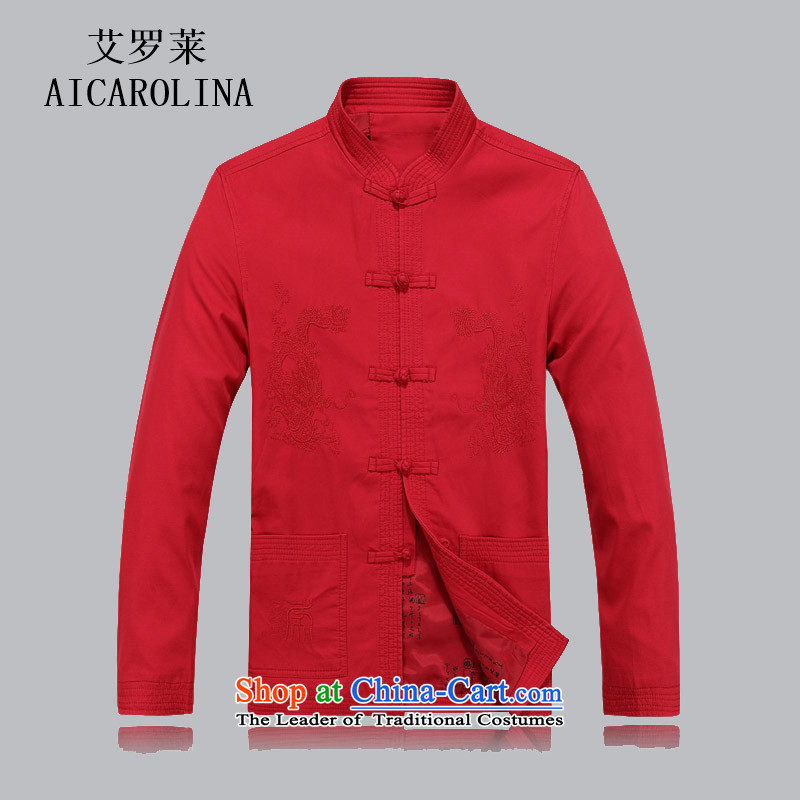 Hiv Rollet men Tang dynasty autumn and winter in long-sleeved older fu shou Tang Jacket coat gown collar chinese red color?XXL