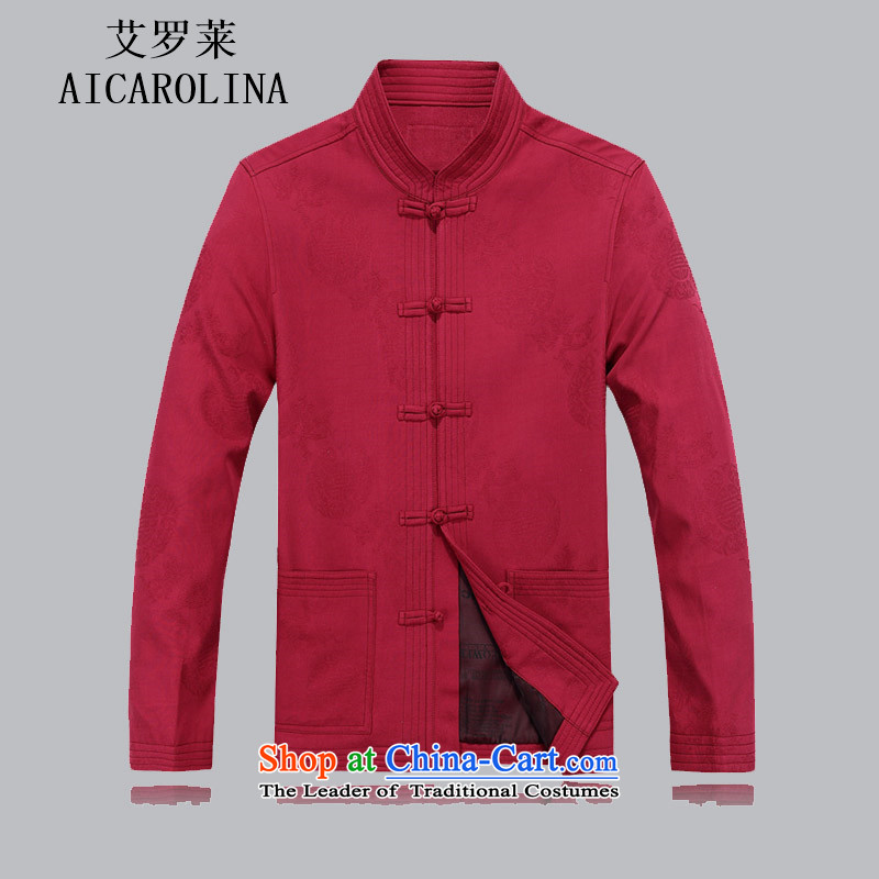 Hiv Rollet elderly men loaded autumn clothes older persons Tang Jacket coat disk port in Chinese Tang dynasty older men long-sleeved red?M