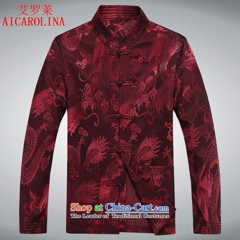 Airault letang jacket autumn Men_in replacing older_Person Tang dynasty and long-sleeved shirt men during the spring and autumn men's red聽XXXL Tang