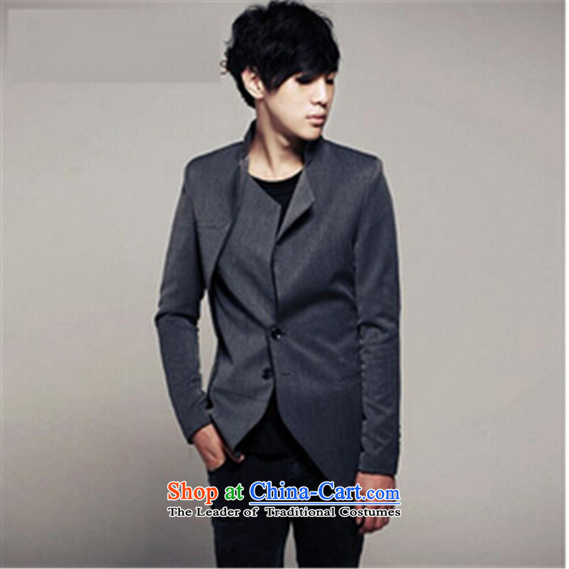 The new star of the Autumn m2monline2014 Chinese tunic, unique design tablets single row detained Korean men small business suit Sau San Men's Jackets carbon�XL