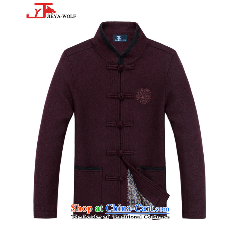The new wool Tang JIEYA-WOLF2015 replacing Long-sleeve thick autumn and winter jacket, men cashmere Tang Dynasty is smart casual autumn and winter, mauve men聽190_XXXL male