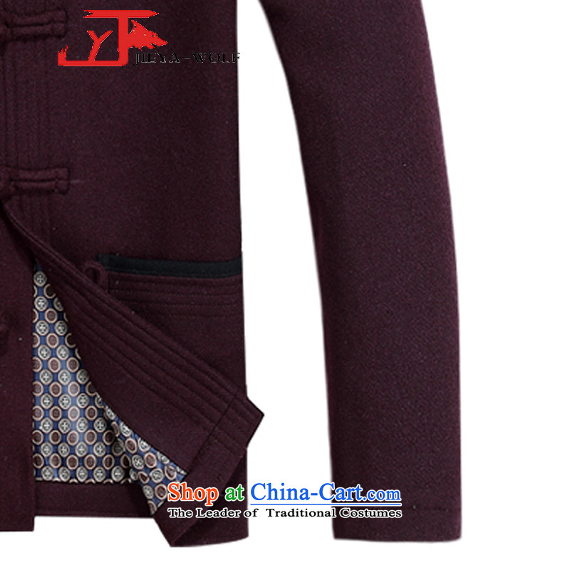 The new wool Tang JIEYA-WOLF2015 replacing Long-sleeve thick autumn and winter jacket, men cashmere Tang Dynasty is smart casual autumn and winter, mauve men聽190/XXXL male ,JIEYA-WOLF,,, shopping on the Internet