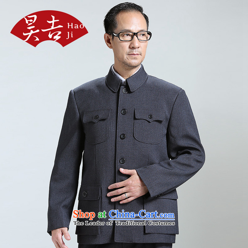 Ho Chi men aged Chinese tunic kit older persons men Zhongshan service load father Father Jacket Tang Chun, replacing dark, blue-gray聽70_165_