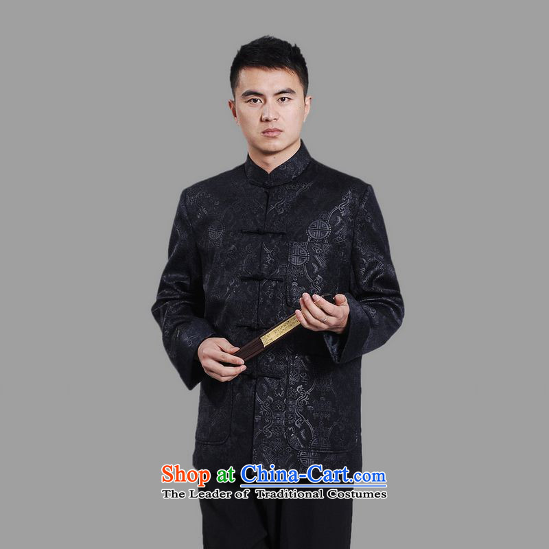 158 Jing Tang Dynasty Men long-sleeved national costumes men Tang jackets collar embroidery Chinese dragon dark blue聽L