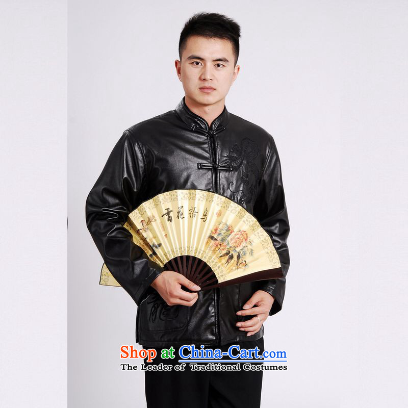 158 Jing Tang Dynasty Men long-sleeved sweater Tang blouses men's leather jacket water Sable Hair Tang dynasty leather garments plus black velvet�XXL