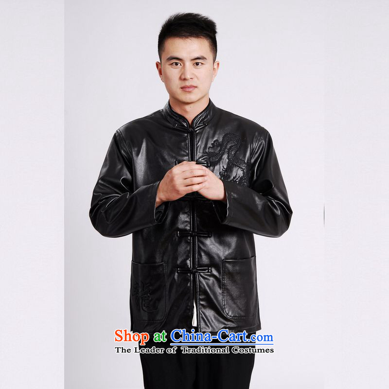 158 Jing Tang Dynasty Men long-sleeved sweater Tang blouses men's leather jacket water Sable Hair Tang dynasty leather garments plus black velvet聽158 Jing.... XXL, shopping on the Internet