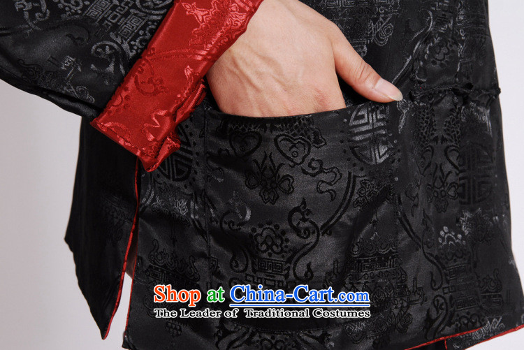 158 Jing Tang Dynasty Men long-sleeved national costumes men Tang jackets collar double-sided Wearing Tang Dynasty damask Black + RedXL Photo, prices, brand platters! The elections are supplied in the national character of distribution, so action, buy now enjoy more preferential! As soon as possible.