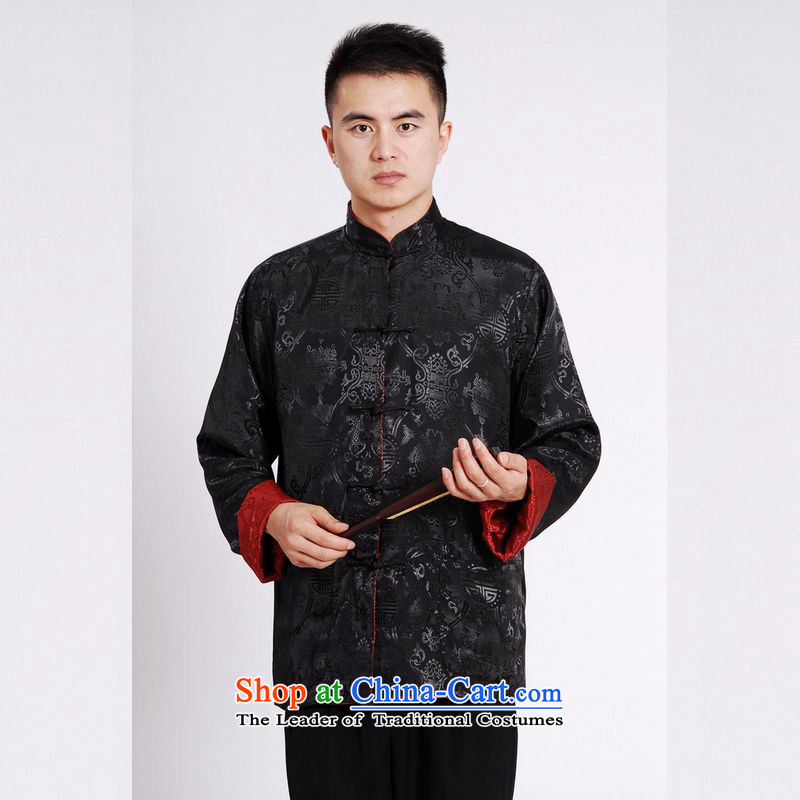 158 Jing Tang Dynasty Men long-sleeved national costumes men Tang jackets collar double-sided Wearing Tang Dynasty damask Black + Red XL