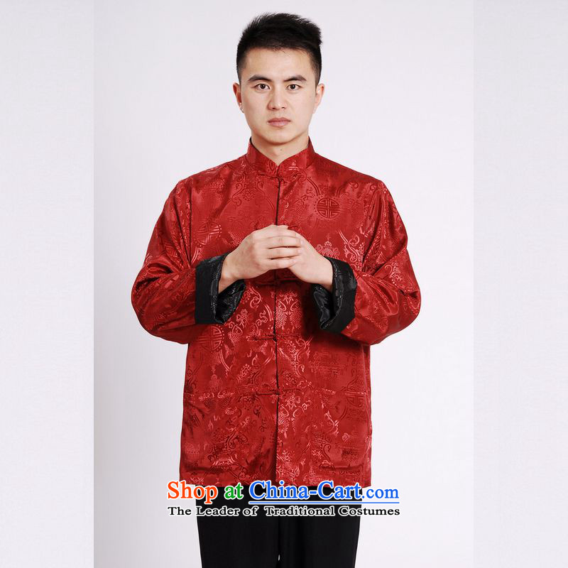 158 Jing Tang Dynasty Men long-sleeved national costumes men Tang jackets collar double-sided Wearing Tang Dynasty damask Black + RedXL, 158 jing shopping on the Internet has been pressed.