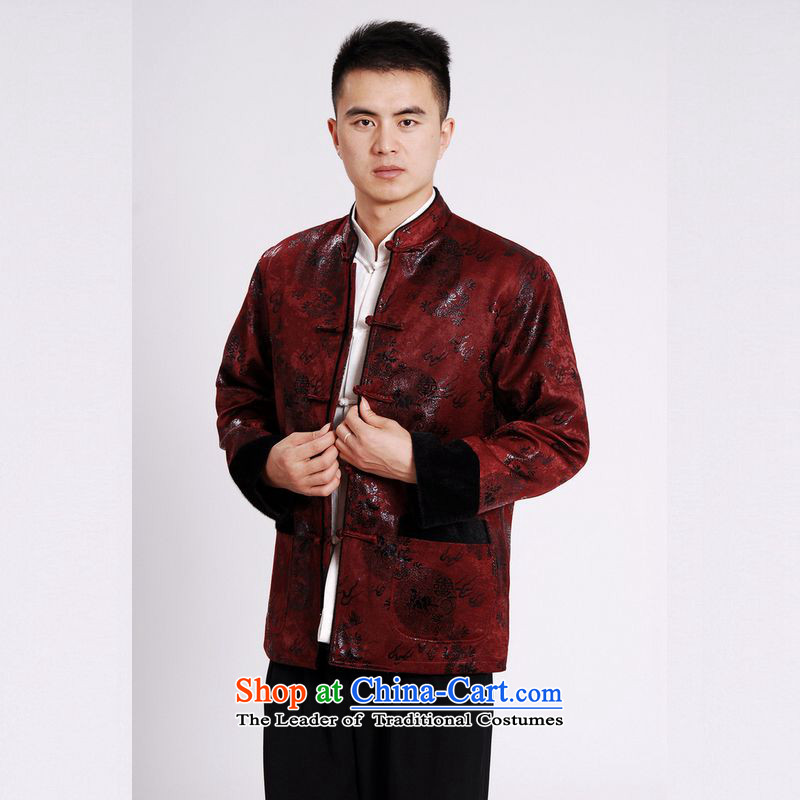 158 Jing men's jacket water Sable Hair Tang Add Tang dynasty lint-free men long-sleeved sweater Chinese Dragon Tang blouses wine red M