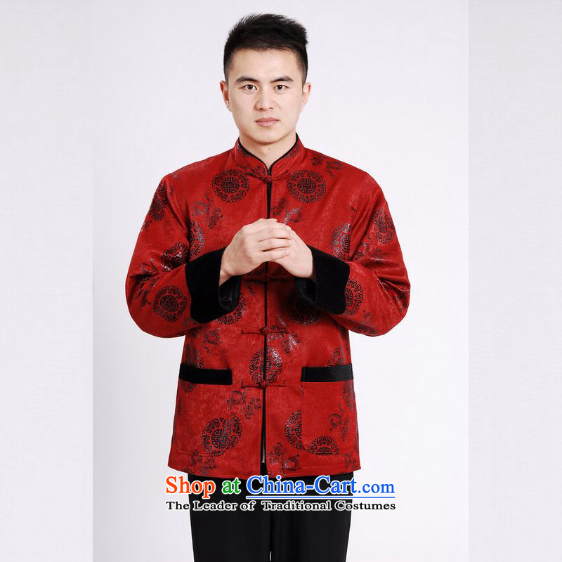 158 Jing Tang Dynasty Men long-sleeved sweater Tang blouses men's jacket water Sable Hair Tang add cotton thick red?XXXL
