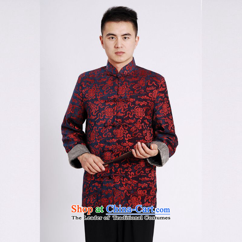 158 Jing Tang Dynasty Men long-sleeved sweater Tang blouses Men's Jackets Tang cotton waffle add Black�XL