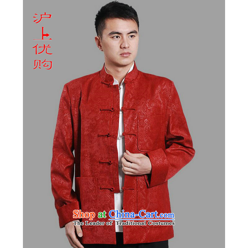 Shanghai, optimization options Tang Dynasty Men long-sleeved national costumes men Tang jackets collar embroidery Chinese dragon red�L