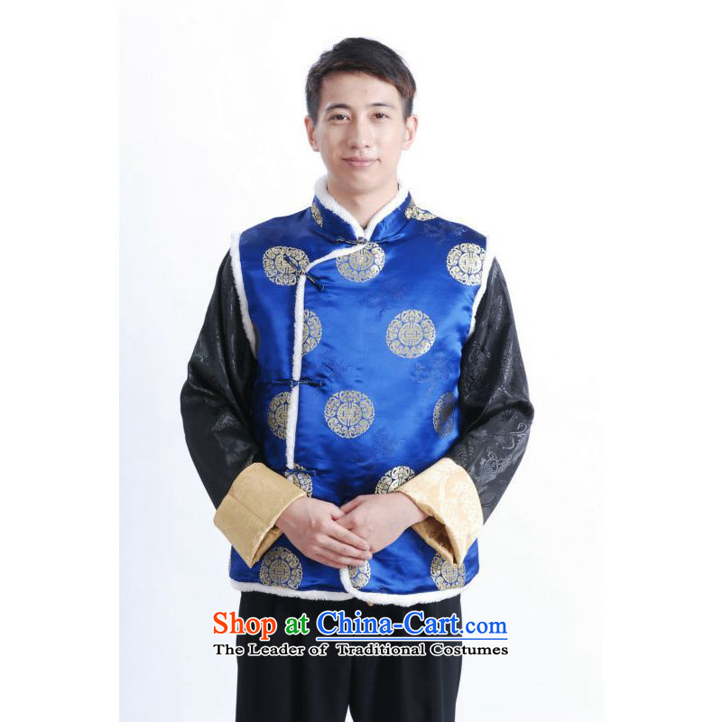 158 Jing men Tang blouses men's plus cotton vest聽-B Blue聽S