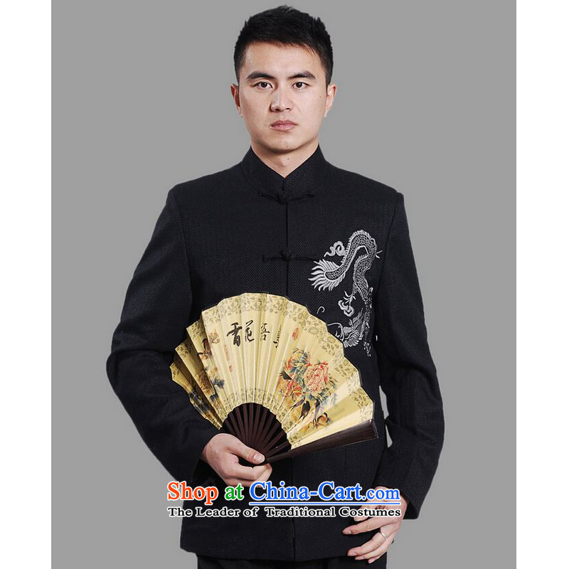 Ms Au King Mansion to men Tang jackets collar embroidery Tang Dynasty Chinese Dragon Men long-sleeved national costumes�-A DARK BLUE�XXL