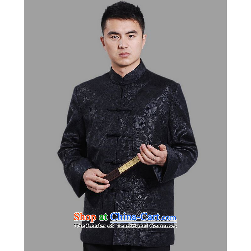 Ms Au King Mansion to Tang dynasty men long-sleeved national costumes men Tang jackets collar embroidery Chinese dragon dark blue�XXXL