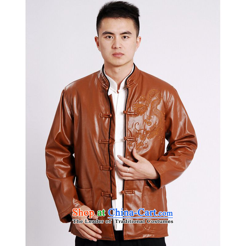 Ms Au King Mansion to Tang dynasty men long-sleeved sweater Tang blouses men's leather jacket water Sable Hair Tang dynasty leather garments plus lint-free yellow�L