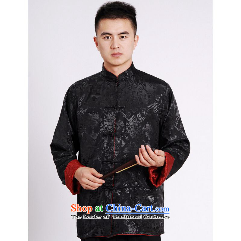 Ms Au King Mansion to Tang dynasty men long-sleeved national costumes men Tang jackets collar double-sided Wearing Tang Dynasty damask Black + Red?M