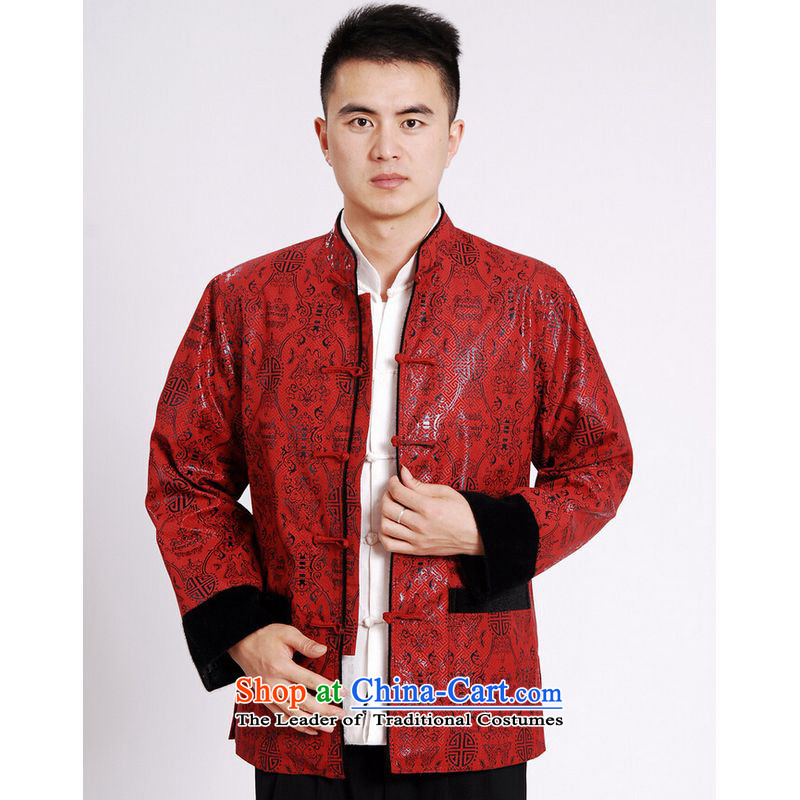 Ms Au King Mansion to Tang dynasty men long-sleeved sweater Tang blouses men's jacket water Sable Hair Tang add�M0040 lint-free red�XL