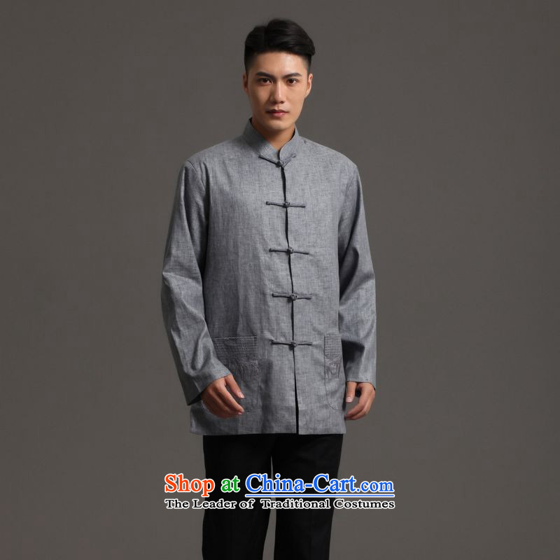 158 Jing Tang Dynasty Men long-sleeved sweater collar ethnic Han-tang�- 2)�XXXL