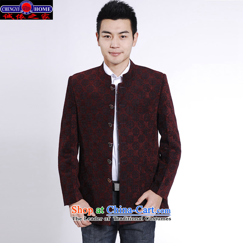 In accordance with the fiduciary duties of men's 2015 replace spring and autumn new leisure Tang Dynasty Chinese Men's Mock-Neck casual male Chinese tunic jacket leisure loading to deep red 175/L Payment