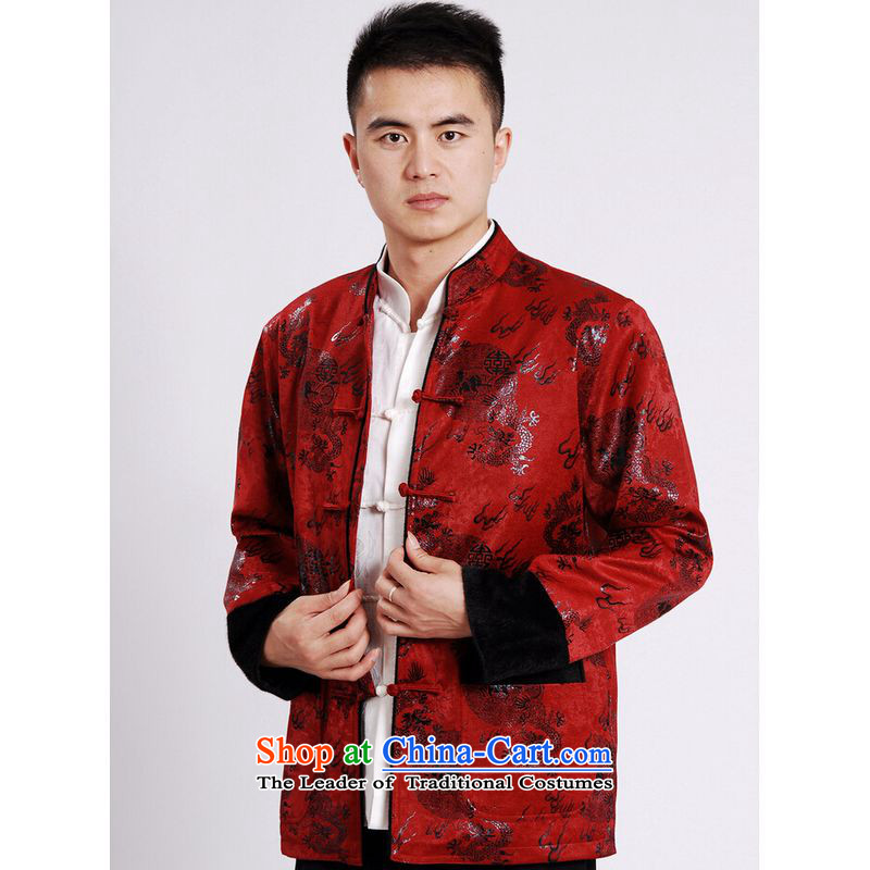 Ms Au King Mansion to men's jacket water Sable Hair Tang Add Tang dynasty lint-free men long-sleeved sweater Chinese Dragon Tang blouses?XXXL red