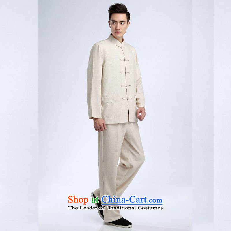 158 Jing Tang Dynasty Men long-sleeved sweater cotton linen collar Tang Dynasty Package kung fu tai chi service kit shirt - 1) packaged XXXL