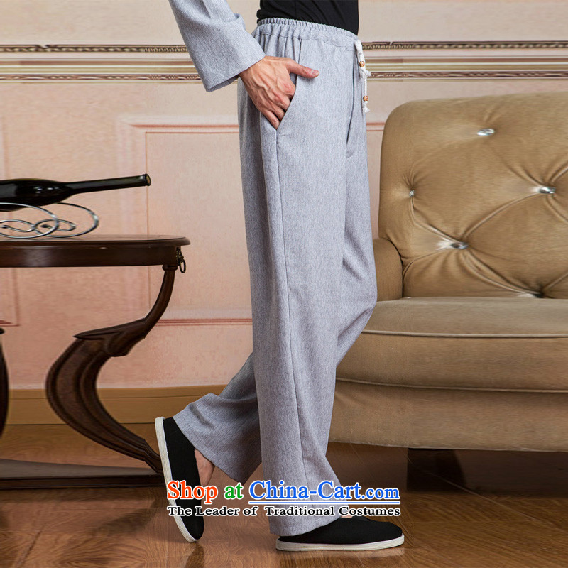 158 Jing men Tang elastic waist pants cotton linen trousers and pants casual pants trouthes - 3 M