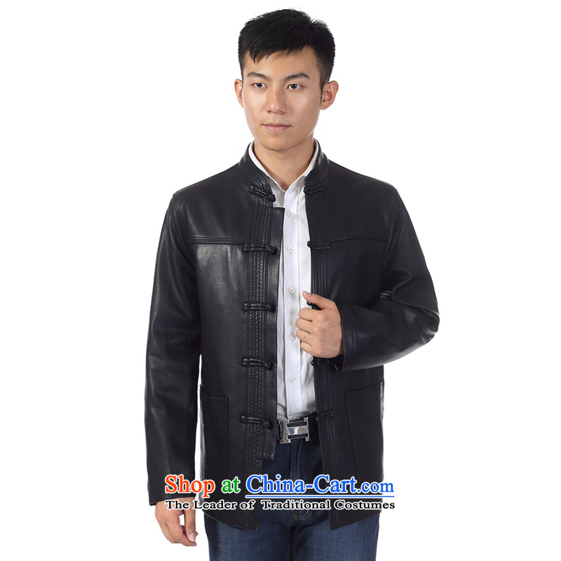 In the new priority Ho Tang dynasty older men leather garments leather jacket China wind and leather jacket father pack Black 180