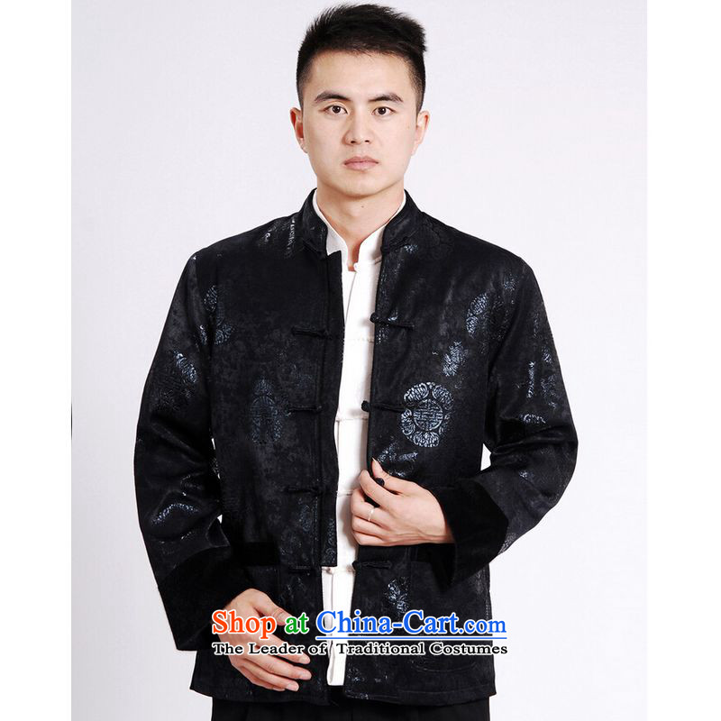Ms Au King Mansion to Tang dynasty men long-sleeved sweater Tang blouses men's jacket water Sable Hair Tang add cotton thick dark blue XL