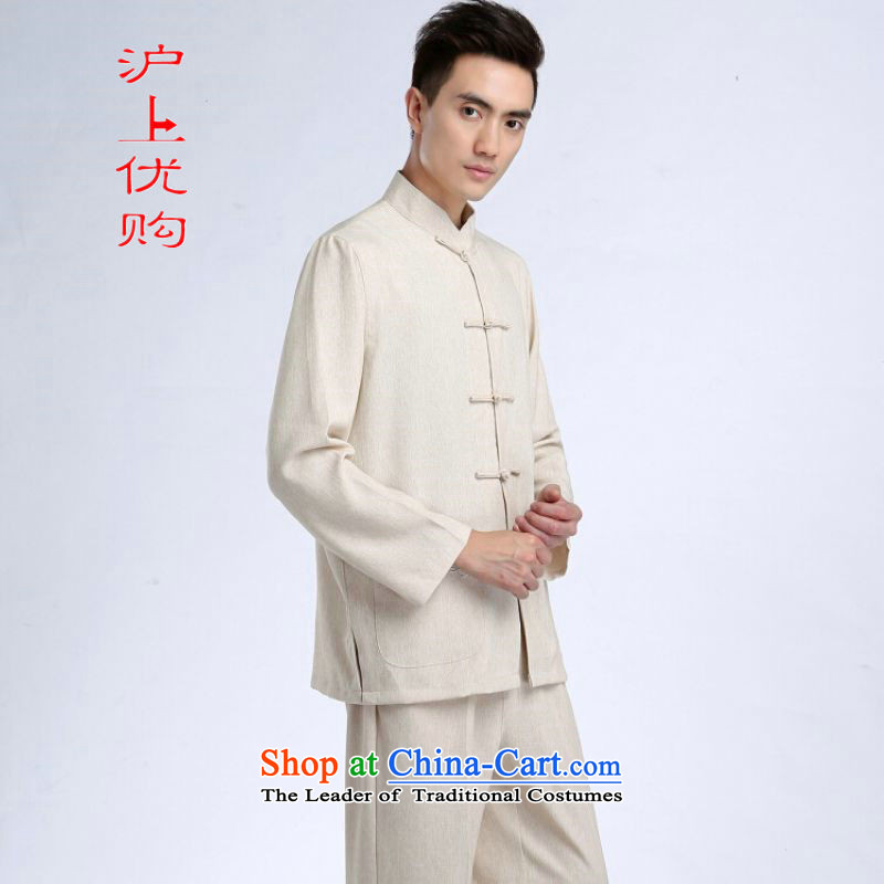 Shanghai, optimization options Tang Dynasty Men long-sleeved sweater cotton linen collar Tang Dynasty Package kung fu tai chi service kit shirt聽- 1_ packaged聽XL