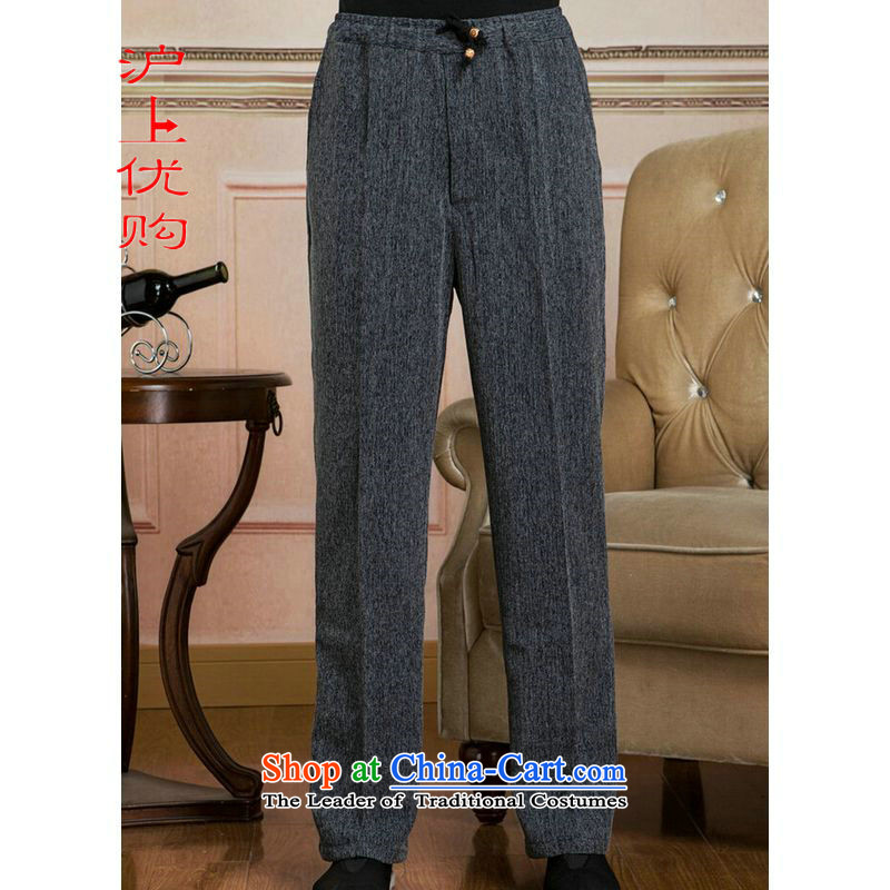 Shanghai, optimization options men Tang elastic waist pants cotton linen trousers and pants casual pants聽trouthes - 2聽L