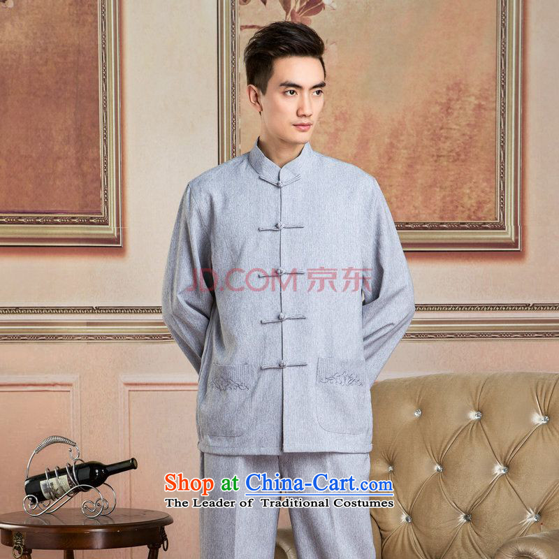 Picking Frequency Tang Dynasty Men long-sleeved sweater cotton linen collar Tang dynasty kung fu tai chi Services聽- 3_ Netherlands shirt聽L