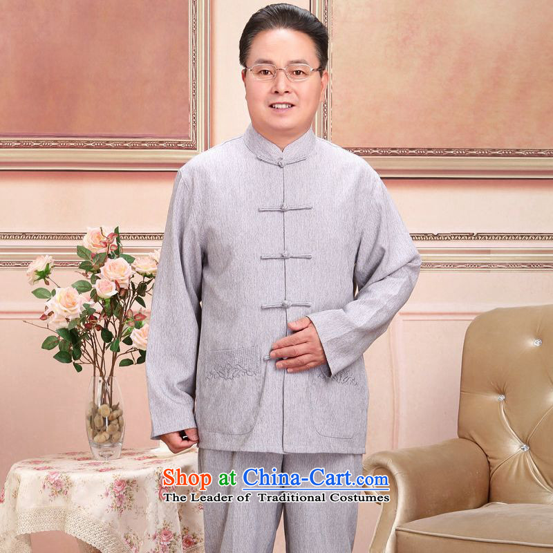 158 Jing in Tang Dynasty older men and women's load spring and fall jacket couples long-sleeved shirt cotton linen pants kit men gray suit?M