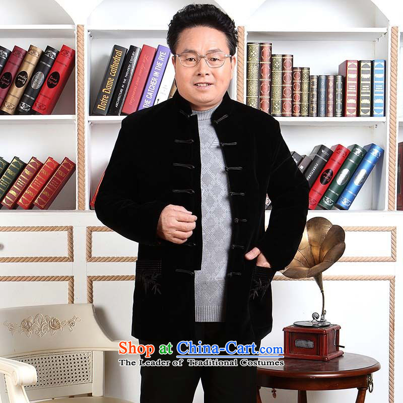 158 Jing Men long-sleeved sweater in Tang Dynasty older Mock-neck Tang dynasty men robe scouring pads made wedding dress?- 1 Black?XL