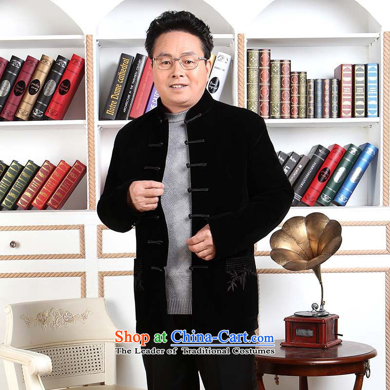 158 Jing Men long-sleeved sweater in Tang Dynasty older Mock-neck Tang dynasty men robe scouring pads made wedding dress- 1 blackXL, 158 jing shopping on the Internet has been pressed.