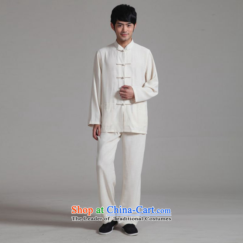 158 Jing men Tang dynasty long-sleeved Kit Mock-Neck Shirt cotton linen Kung Fu Tai Chi Kit聽- 2m White聽XXL Kit