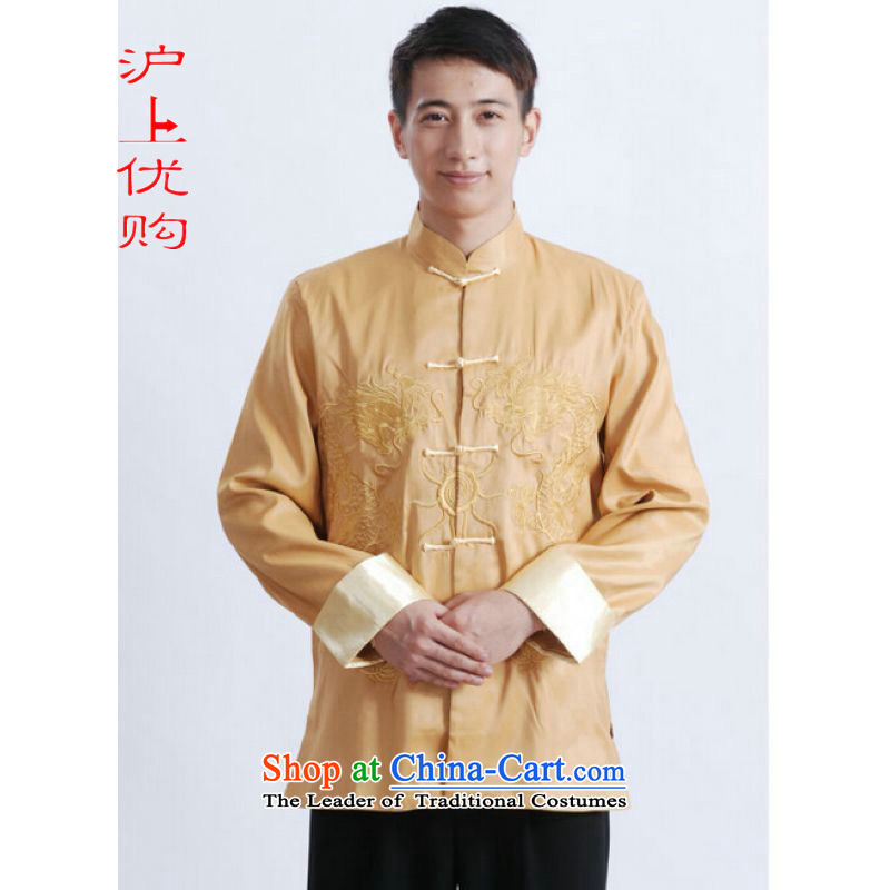 Shanghai, optimization options Tang Dynasty Men long-sleeved national costumes men Tang jackets collar embroidery Chinese dragon yellow?L