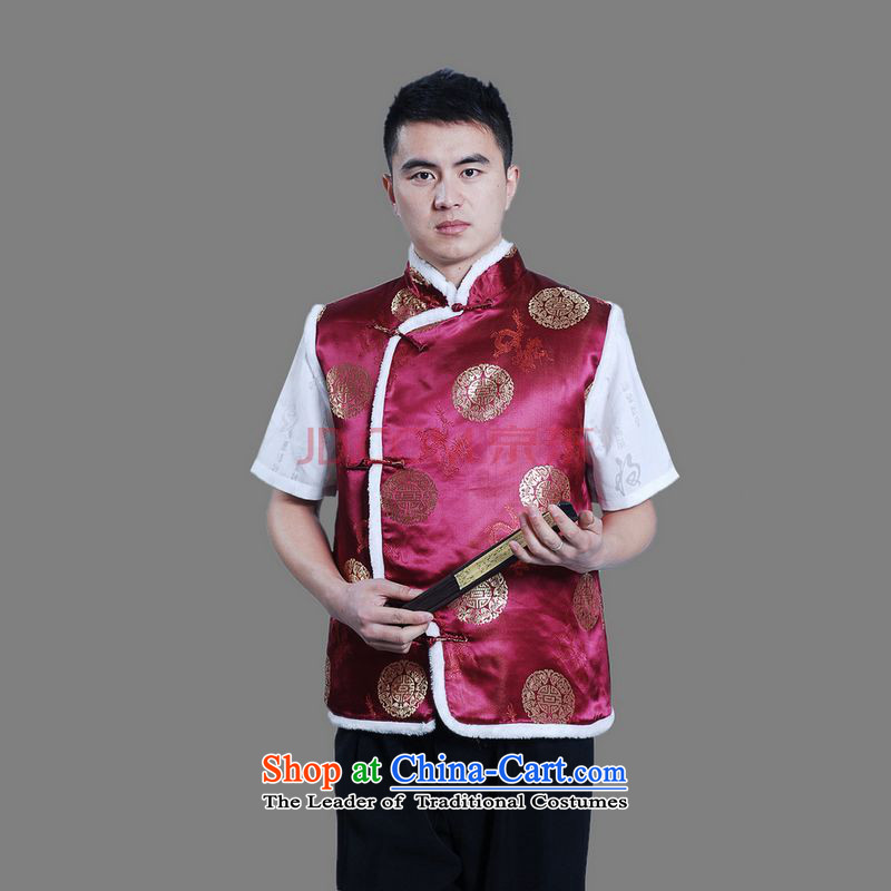 Picking frequency men Tang blouses men's plus cotton vest�-C wine red�L